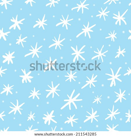 Hand drawn snowflakes pattern in cartoon style. Abstract background with ink snow flakes. Christmas background with snowflakes - stock vector