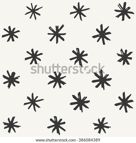 hand drawn snowflakes pattern. vector illustration