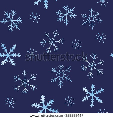 Hand drawn snowflakes - seamless pattern - stock vector