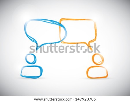 Hand-drawn social media discussion group. Vector illustration. - stock vector