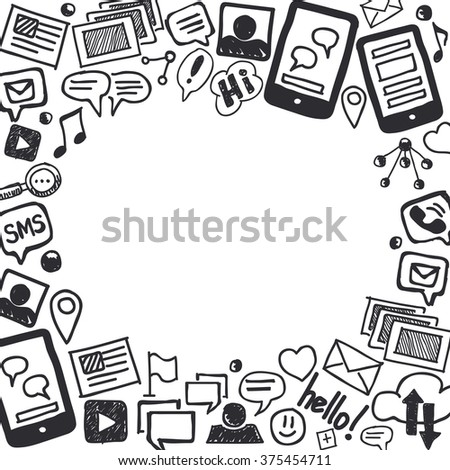 Hand drawn social media doodle background in black and white with empty space for text. Optimized for one click color changes. EPS8 vector illustration. - stock vector