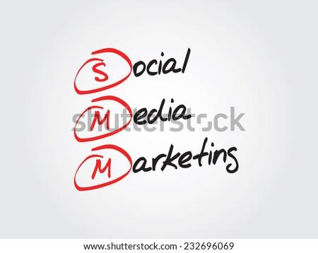 Hand drawn Social Media Marketing (SMM) vector concept - stock vector