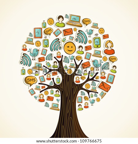 Hand drawn social network icons in tree shape. Vector illustration layered for easy manipulation and custom coloring.