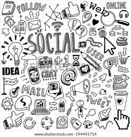 handdrawn social symbols stock vector royalty free