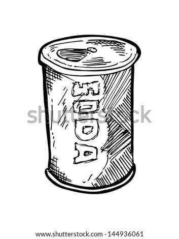 hand drawn soft drink can - stock vector