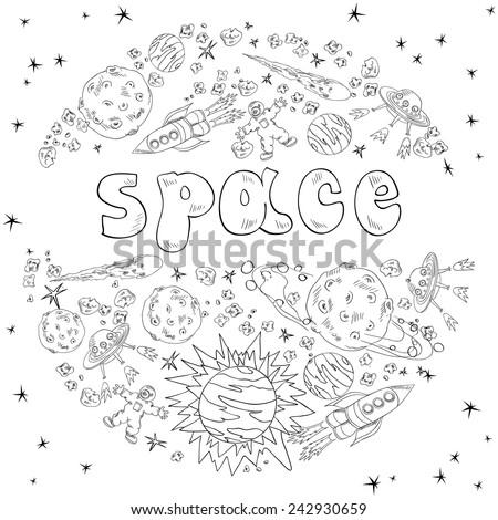 hand drawn space. - stock vector