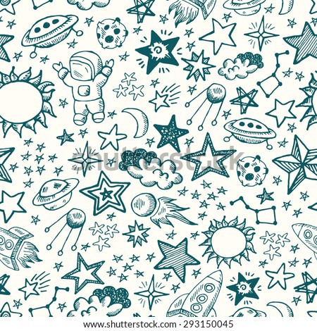 Hand drawn space doodle seamless pattern. Planet, star, astronaut, sun, asteroid, comet, moon, Saturn and rocket. Education for children, preschool. - stock vector
