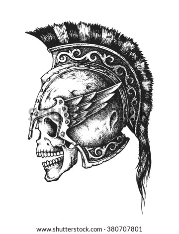 Hand drawn Spartan warrior skull wearing ancient helmet. Vector illustration