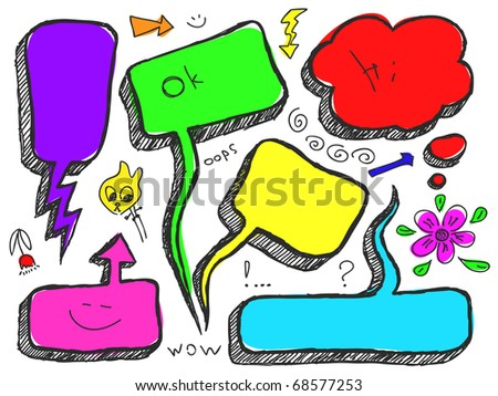 Hand Drawn Speech And Thought Bubble - stock vector