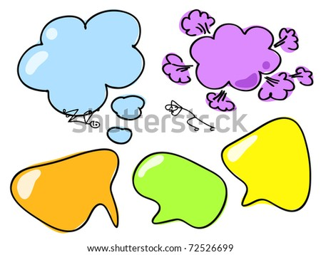 Hand Drawn Speech And Thought Bubble. Visit my portfolio for big collection of doodles and speech bubbles - stock vector