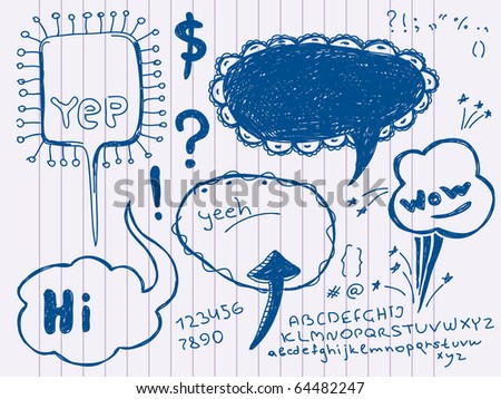Hand Drawn Speech And Thought Bubbles. Visit my portfolio for big collection of doodles - stock vector