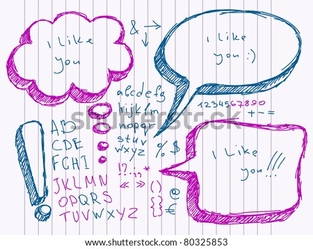 Hand Drawn Speech And Thought Bubbles. Visit my portfolio for big collection of doodles and speech bubbles - stock vector