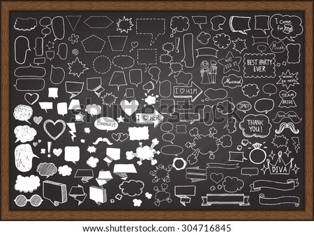 Hand drawn speech balloons with wedding party elements on chalkboard. - stock vector