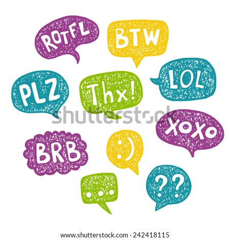 Hand drawn Speech Bubble Acronyms Set. Intetnet and chat  abbreviations - stock vector
