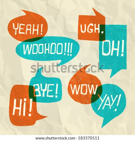 Hand drawn speech bubble set with short phrases (oh, hi, yeah, yay, bye, woohoo, wow, ugh) on paper texture background - vector  illustration - stock vector