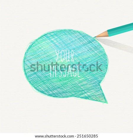 Hand-drawn speech bubble. Sketch pencil drawing. Vector doodles.  - stock vector