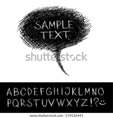 Hand-drawn speech bubble with alphabet. - stock vector