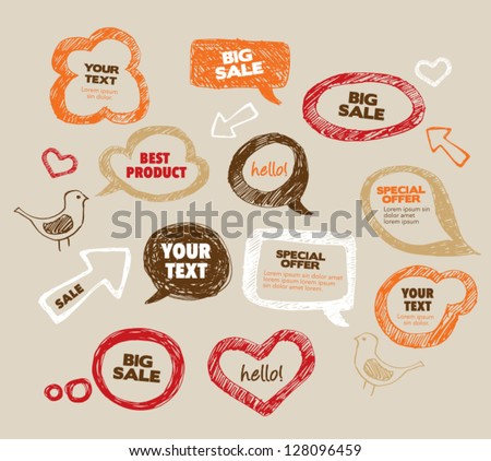 Hand Drawn Speech Bubbles - stock vector