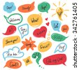 Hand drawn speech bubbles and stickers set with handwritten short messages and friendly phrases isolated on white - stock vector