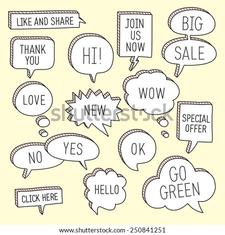 Hand drawn speech bubbles / callouts set with different messages. Vector illustration - stock vector