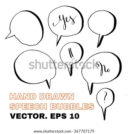 Hand drawn speech bubbles. Pen-and-ink sketch.  - stock vector
