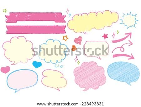 Hand-drawn speech bubbles set - stock vector