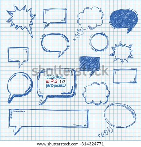 Hand drawn speech bubbles set on the checked paper. Eps 10 vector file. - stock vector