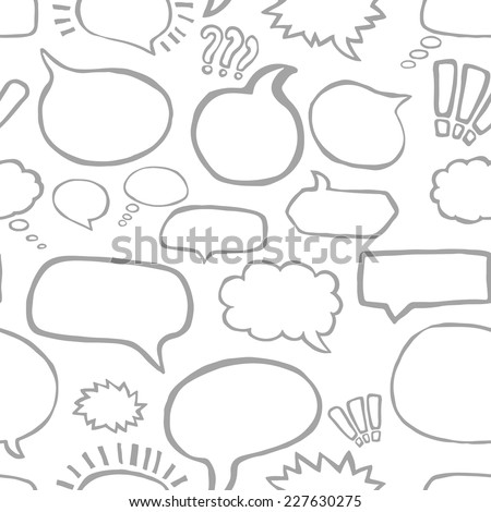 Hand Drawn Speech Bubbles Vector Seamless Pattern in Comic Style - stock vector