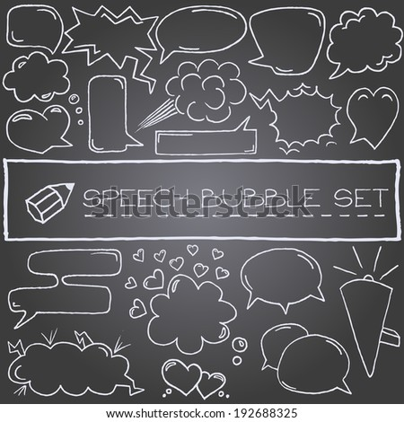 Hand drawn speech bubbles with hearts and clouds, chalkboard effect. Vector illustration.  - stock vector