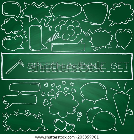 Hand drawn speech bubbles with hearts and clouds, green chalkboard effect. Vector illustration.