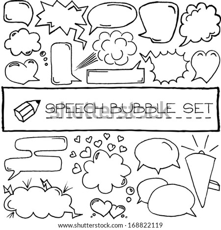 Hand drawn speech bubbles with hearts and clouds. Vector illustration.