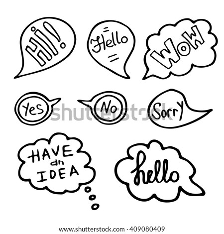 Hand Drawn Speech Bubbles with Words. Doodle Style, Vector illustration. - stock vector