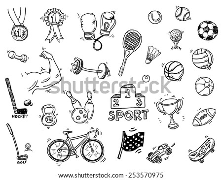 Hand drawn sport doodle set - stock vector