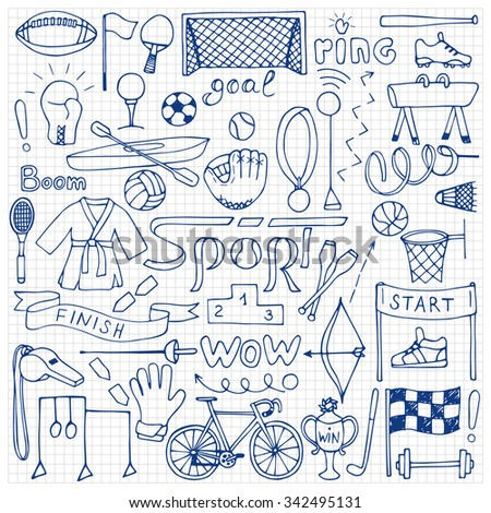 Hand drawn Sport equipment set on squared paper. Vector illustration of doodle sport elements for backgrounds, textile prints, web and graphic design - stock vector