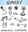 hand drawn sport icon set - stock vector