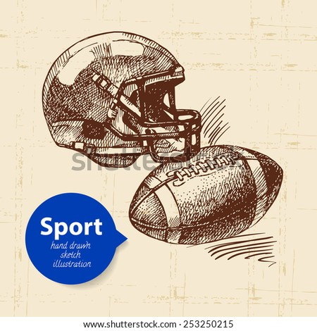 Hand drawn sport object. Sketch american football vector illustration - stock vector