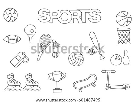 hand drawn sports set coloring book template outline doodle elements vector illustration kids - Sports Coloring Book