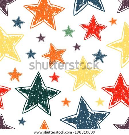 Hand drawn stars seamless pattern. Vector illustration - stock vector