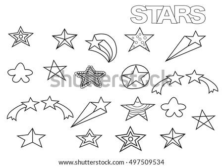 Hand Drawn Stars Set Coloring Book Stock Vector (Royalty Free ...