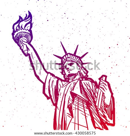Hand drawn Statue of Liberty illustration. New York or American symbol. Poster or print design. Vector illustration. - stock vector