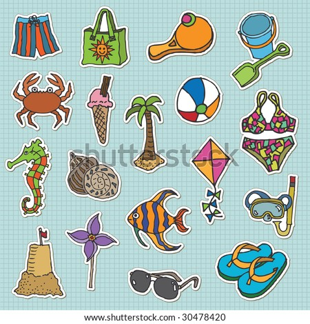 hand drawn stickers - at the beach - stock vector