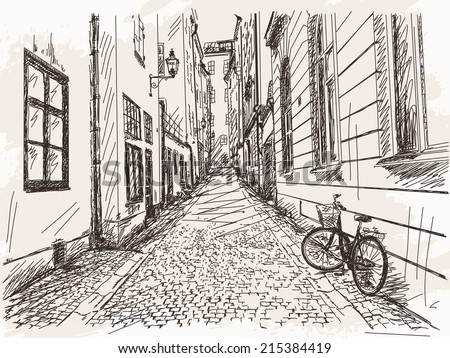 Hand drawn Street Old town Gamla Stan in Stockholm sketch Vector illustration - stock vector