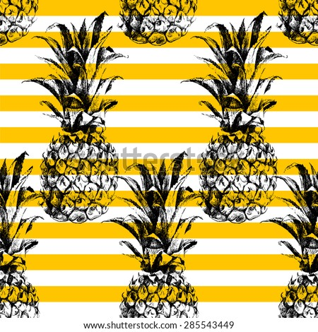 Hand drawn striped pineapple seamless pattern - stock vector