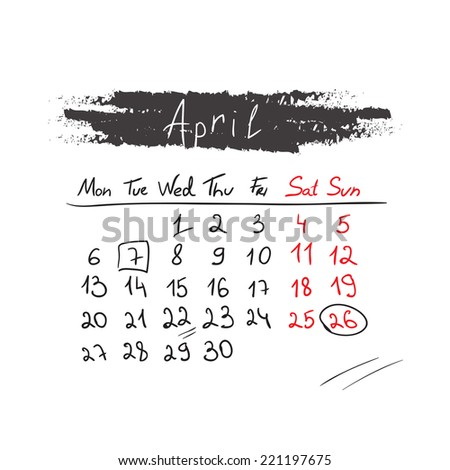 Hand drawn style calendar April 2015. Vector illustration - stock vector
