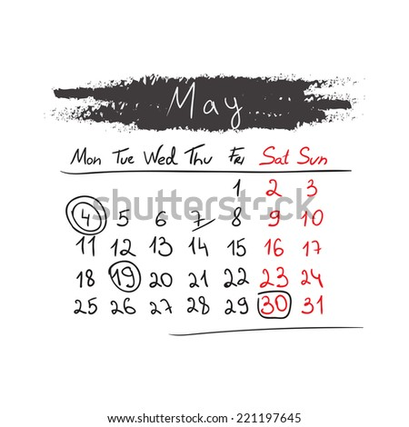 Hand drawn style calendar May 2015. Vector illustration - stock vector