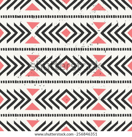 Hand drawn style ethnic seamless pattern. Abstract geometric tiling background in black and pastel coral red. - stock vector