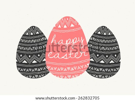 Hand drawn style greeting card with Easter eggs in dark gray and coral red. - stock vector