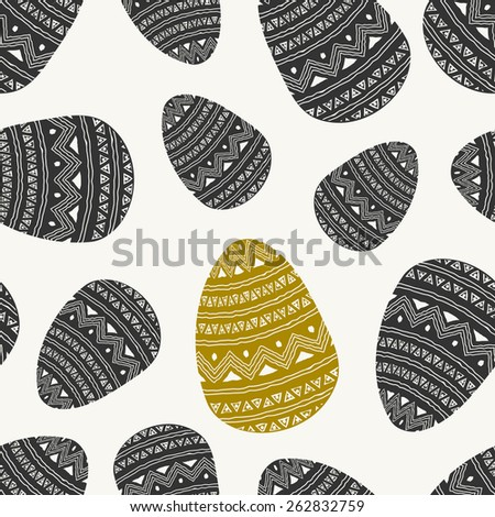 Hand drawn style seamless repeat pattern with Easter eggs in dark gray and golden. - stock vector