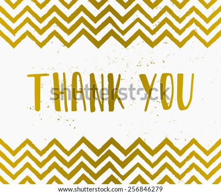 Hand drawn style Thank You greeting card in gold and white. - stock vector