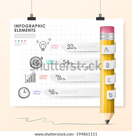 hand drawn style vector pencil bar chart infographic elements - stock vector